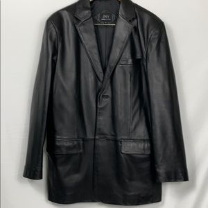 Jones New York genuine black leather jacket 42L